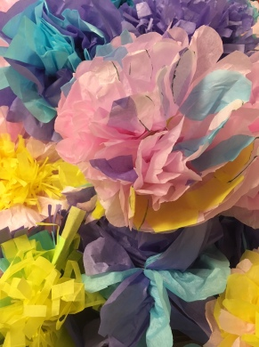 Beautiful paper flowers made by Ambitions4Kirklees for Tanabata forms. Come and see the finished pieces at the festival, they will also be carried in the Parade.